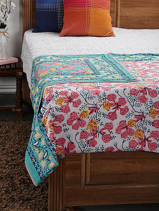 Blue Cotton Voile and Flannel Single Dohar (90in x 60in)