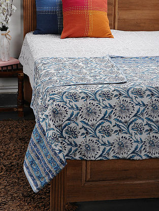 Blue Cotton Voile and Flannel Single Dohar (88in x 57in)