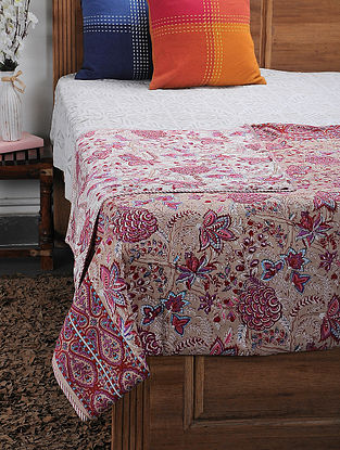 Pink Cotton Voile and Flannel Single Dohar (90in x 57in)