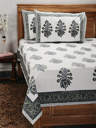 White and Grey Handblock Printed Cotton Double Bedcover with Pillow Covers (Set of 3)