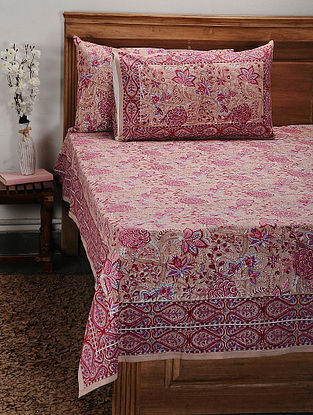 Pink-Multicolor Handblock Printed Cotton Double Bedcover with Pillow Covers (Set of 3)