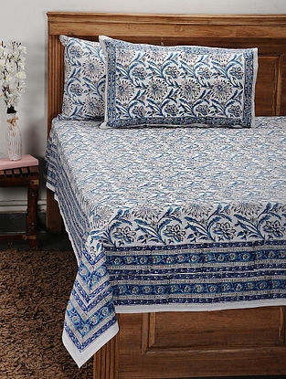 White and Blue Handblock Printed Cotton Double Bedcover with Pillow Covers (Set of 3)