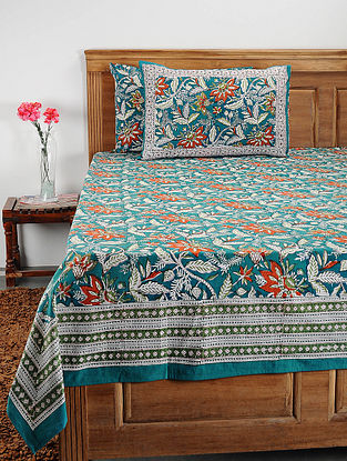 Green-Multicolor Handblock Printed Cotton Double Bedcover with Pillow Covers (Set of 3)