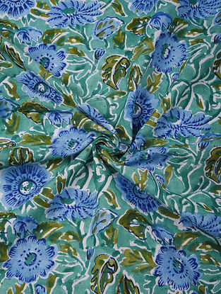 Blue and Green Handblock Printed Cotton Upholstery Fabric