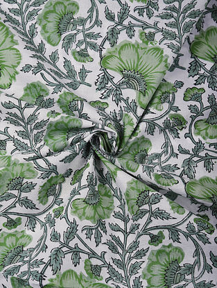 Green and White Handblock Printed Cotton Upholstery Fabric