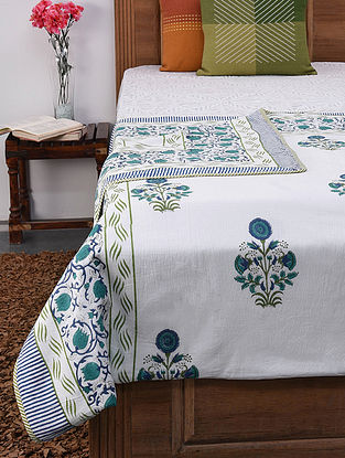 Green-Multicolor Handblock Printed Cotton and Flannel Reversible Single Dohar (87in x 57in)