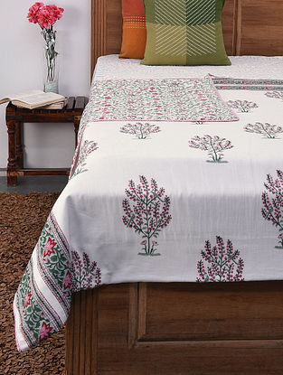 Pink and Green Handblock Printed Voile Cotton Double Dohar (108in x 84in)