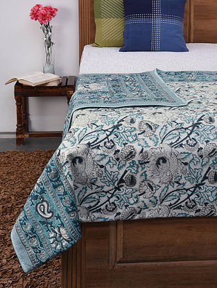 Blue and White Handblock Printed Voile Cotton Double Dohar (110in x 86in)