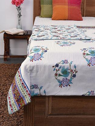 Blue-Multicolor Handblock Printed Voile Cotton Double Dohar (106in x 86in)