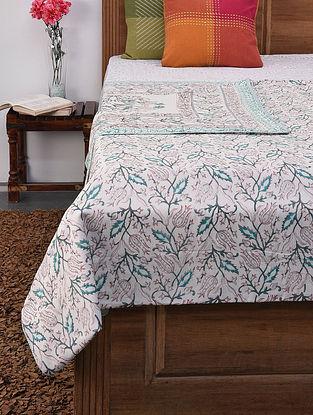 Green-Multicolor Handblock Printed Voile Cotton Double Dohar (108in x 87in)