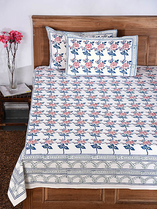 White-Multicolor Hand Block-printed Cotton Bed Cover with Pillow Covers (Set of 3)