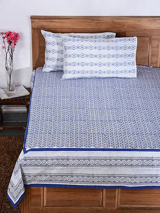 Blue and White Hand Block-printed Cotton Double Bed Cover with Pillow Covers (Set of 3)