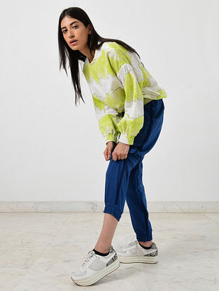 Neon Green Ivory Block Printed Khadi Sweatshirt