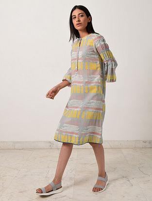 Multicolored Block Printed Khadi Dress with Ruffle Sleeves