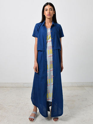 Blue Khadi Jacket with Block Printed Multicolored Slip (Set of 2)