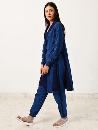 Blue Khadi Jacket with Slip and Jogger (Set of 3)
