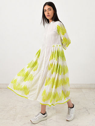 Ivory Neon Green Block Printed Khadi Dress