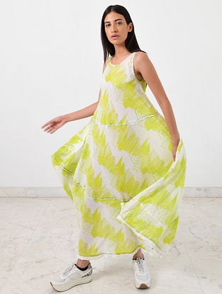 Ivory Neon Green Block Printed Khadi Maxi Dress