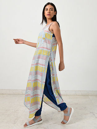 Multicolored Block Printed Khadi Maxi with Blue Pants (Set of 2)