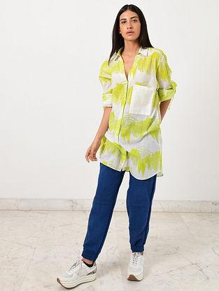 Ivory Neon Green Block Printed Khadi Shirt