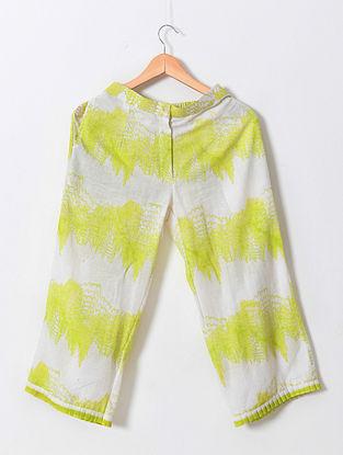 Ivory Neon Green Block Printed Khadi Culottes
