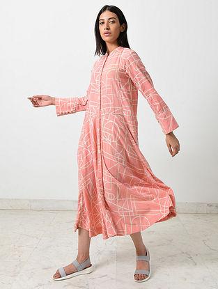 Almond Coral Block Printed Khadi Dress