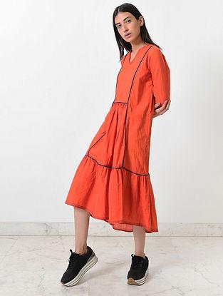 Rustic Orange Block Printed Khadi Dress