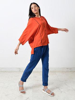 Rustic Orange Block Printed Khadi Shirt