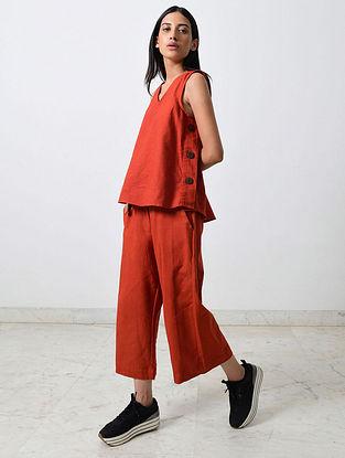 Rust Block Printed Khadi Top with Pants (Set of 2)