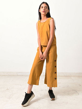 Dirty Mustard Block Printed Khadi Top with Pants (Set of 2)