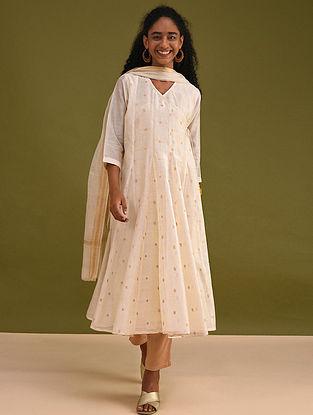 NAFS - Ivory Silk Cotton Angrakha Kurta with Zari