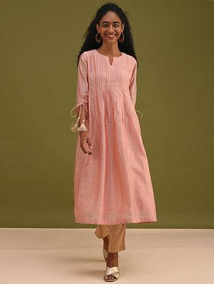 ULFAT- Pink Silk Cotton Kurta with Pleats