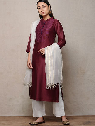 Maroon Cotton Silk Kurta