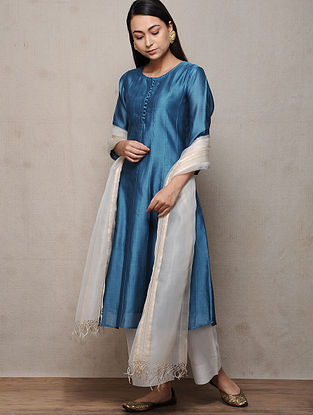 Indigo Cotton Silk Kurta