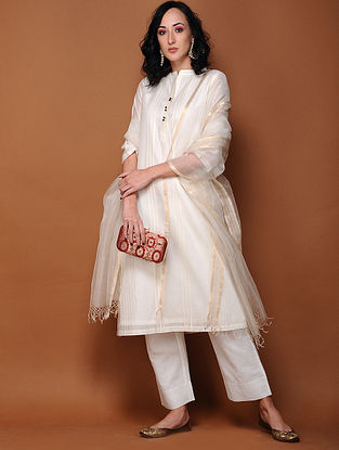 Ivory Cotton Silk Pintuck Kurta