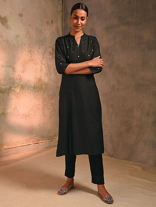 Black Zari Booti Silk Cotton Kurta with Lining