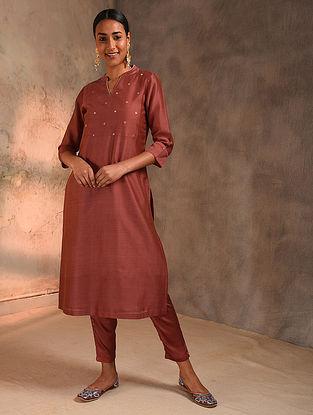 Rust Zari Booti Silk Cotton Kurta with Lining