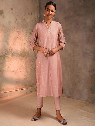 Pink Zari Booti Silk Cotton Kurta with Lining