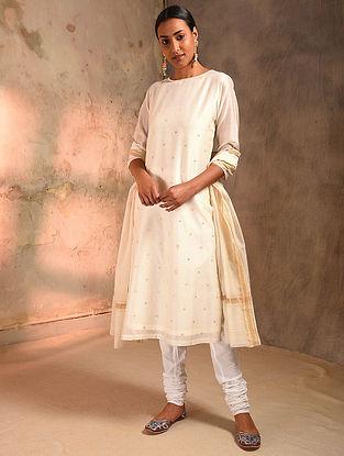 White Zari Booti Silk Cotton Kurta with Lining