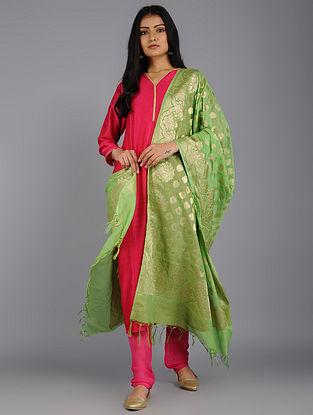 Lime Green Banarasi Cotton Silk Dupatta with Zari Buti