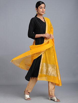Yellow Cotton Dupatta with Zari