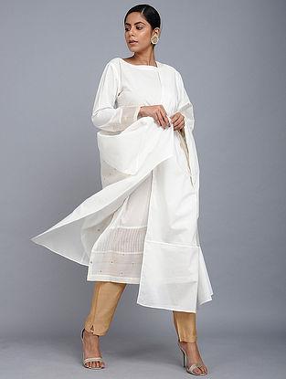 Ivory Benarasi Cotton Dupatta
