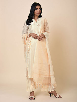 Ivory Chanderi Dupatta with Zari Details