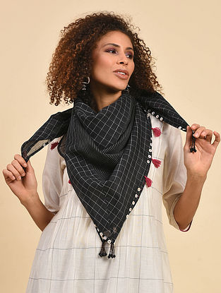 Black Cotton Chanderi Scarf with Patchwork