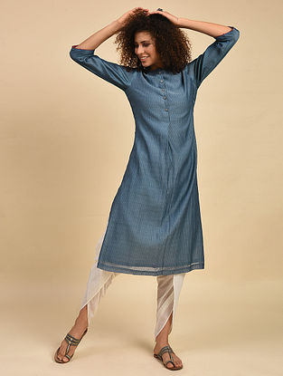 Teal Striped Cotton Chanderi Kurta with Cotton Lining