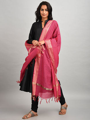 Pink Chanderi Dupatta with Zari