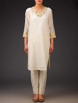 Cream-Golden- Chanderi Brocade-Zari Stitch Detailed V-Neck Kurta