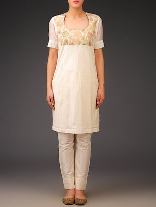 Cream-Golden Chanderi Brocade-Zari Stitch Detailed Kurta