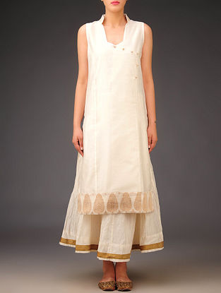 Cream-Bronze Chanderi Angrakha Paisley Sleeveless Kurta