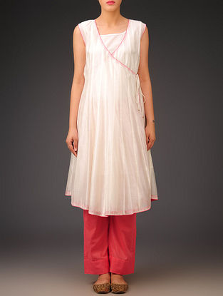 Cream-Pink Chanderi Angrakha Kurta with Lining Set of 2